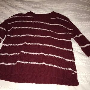 american eagle red and white striped sweater xs